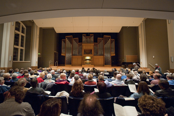Audience members pictured in the Organ Recital Hall