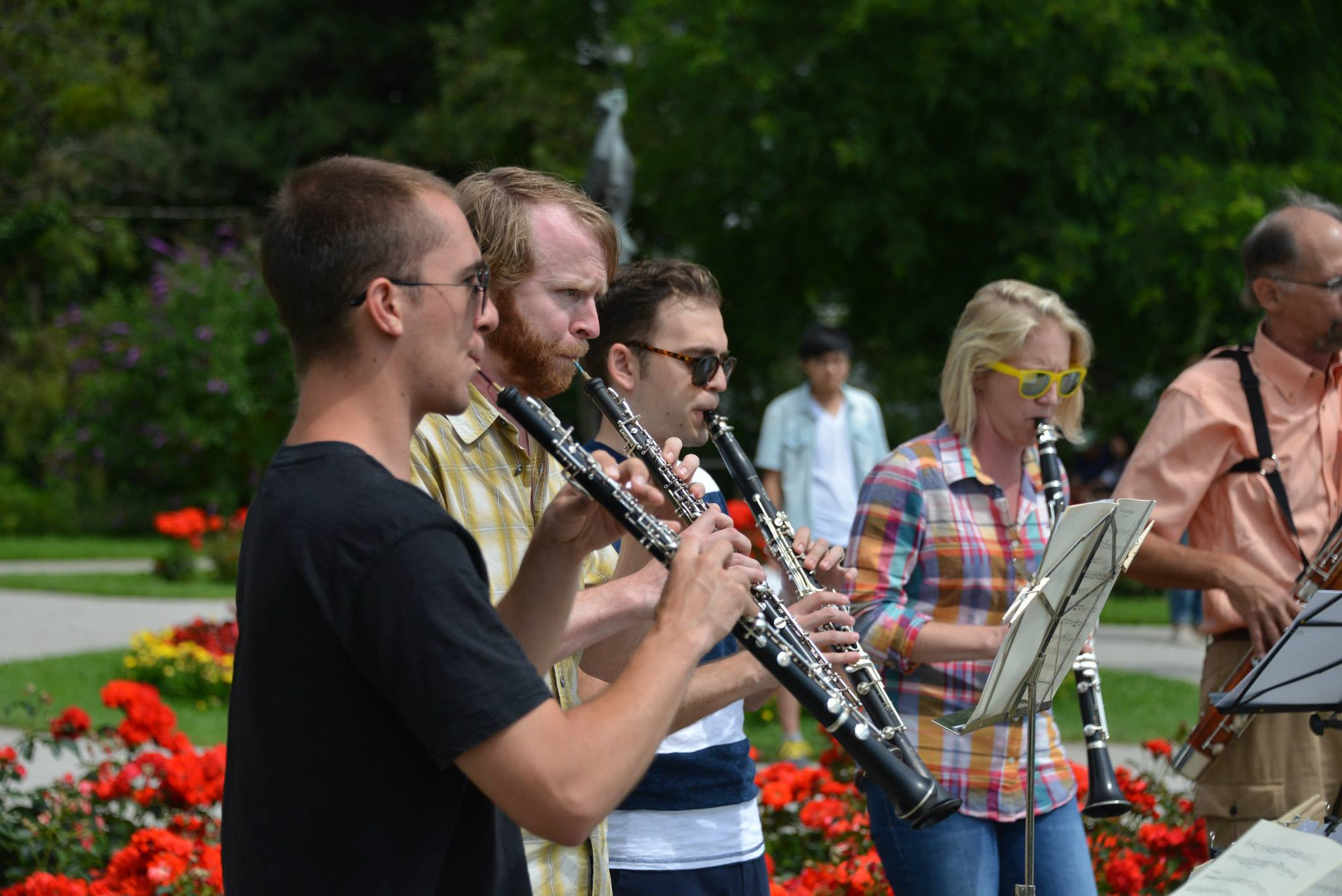 The CSU Faculty Chamber Winds delight crowds at Mirabell Garden in Salzburg.