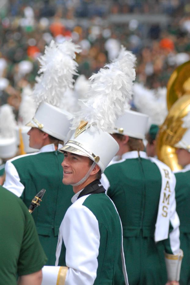 Shane as saxophone section leader in the CSU Marching Band.
