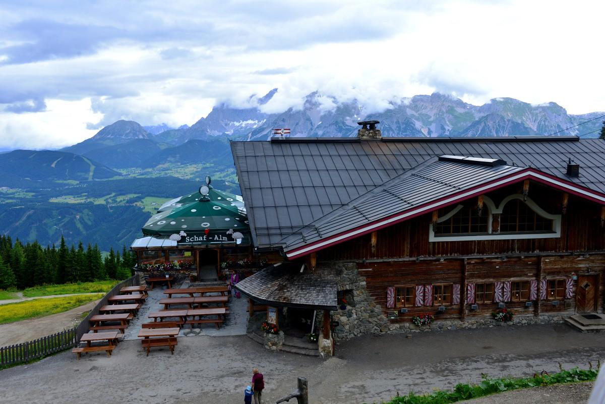 Building overlooking the Swiss Alps