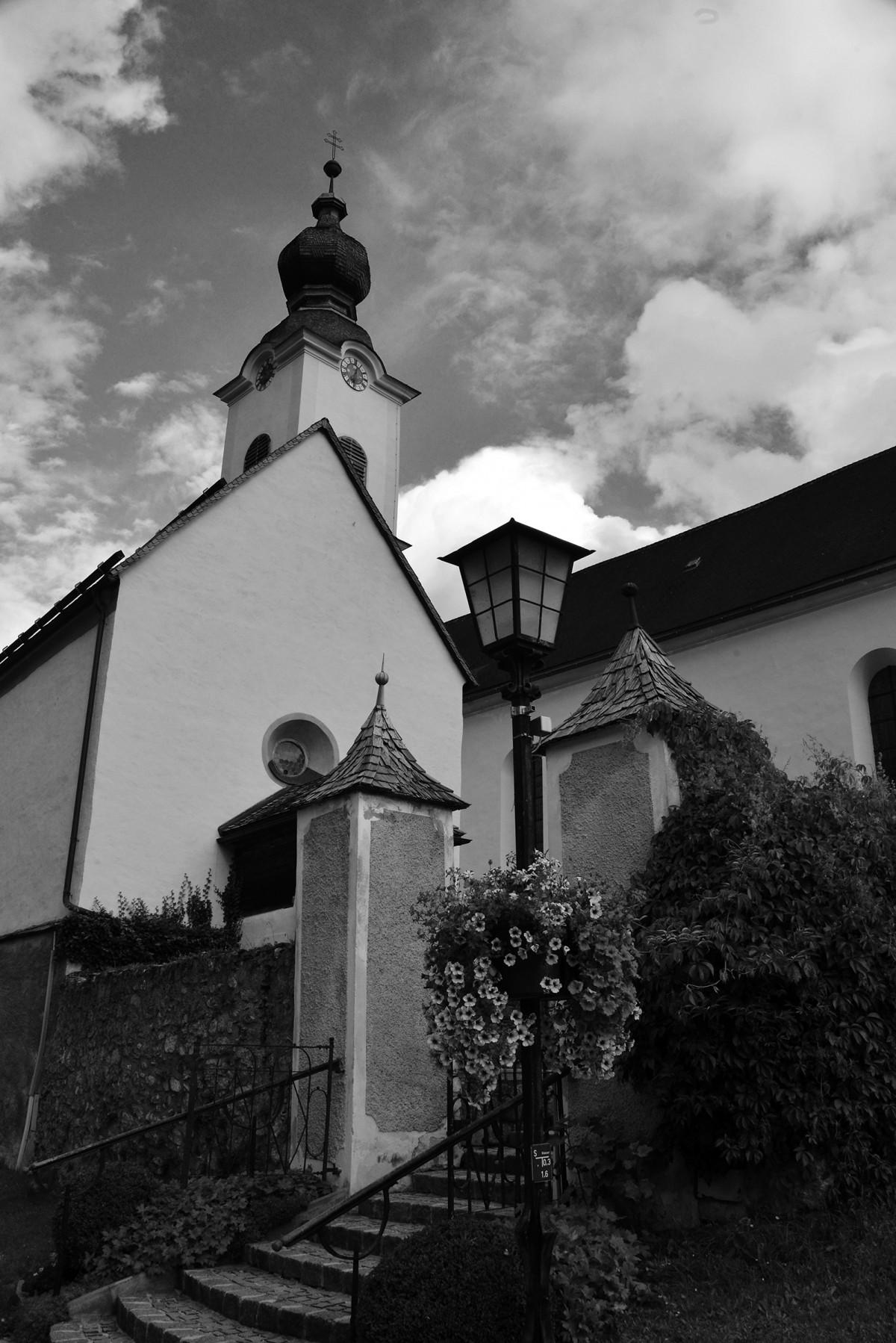 black and white image of St. John the Baptist parish church