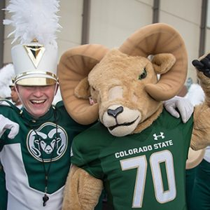 CSU drum major and Cam the Ram