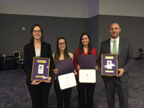 Dr. LaGasse and Dr. Knight pictured with students and 2015 AMTA Awards