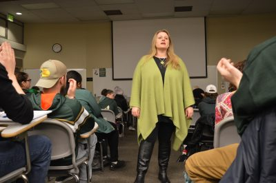 Denise Apodaca teaches her music appreciation class at CSU. Photo credit: Nicole Towne