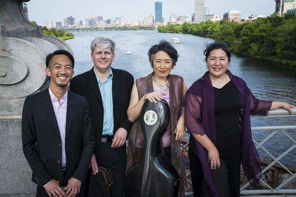 Borromeo String Quartet pictured on a bridge