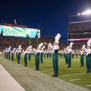 CSU Marching Band performs half time at the Rocky Mountain Showdown