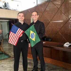 Wesley Ferreira and Dr. John McGuire holding Brazil and USA's flag