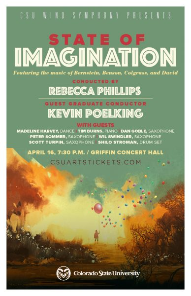 A poster promoting the State of Imagination Wind Symphony concert