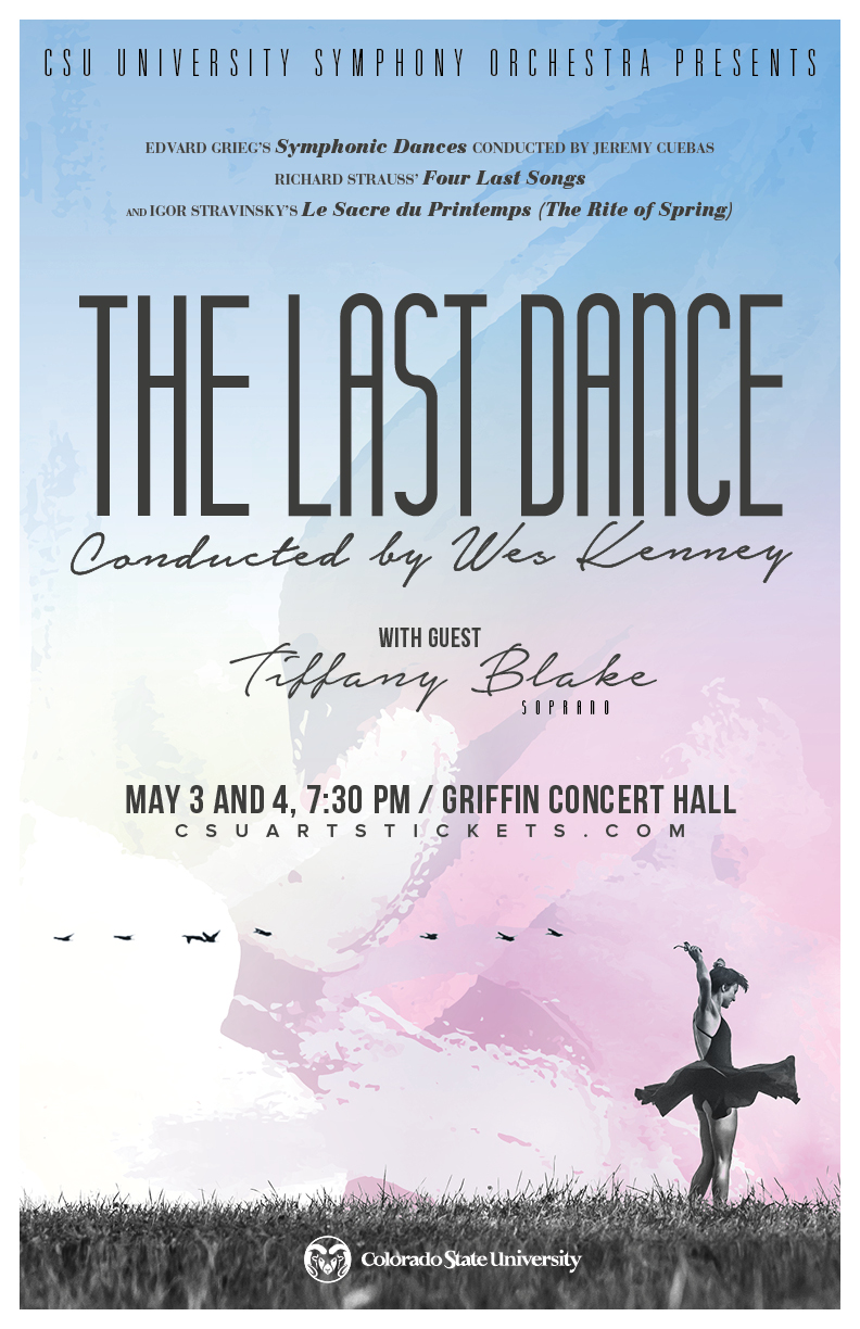 """A poster promoting the upcoming University Symphony Orchestra Concert """"A Last Dance"""""""
