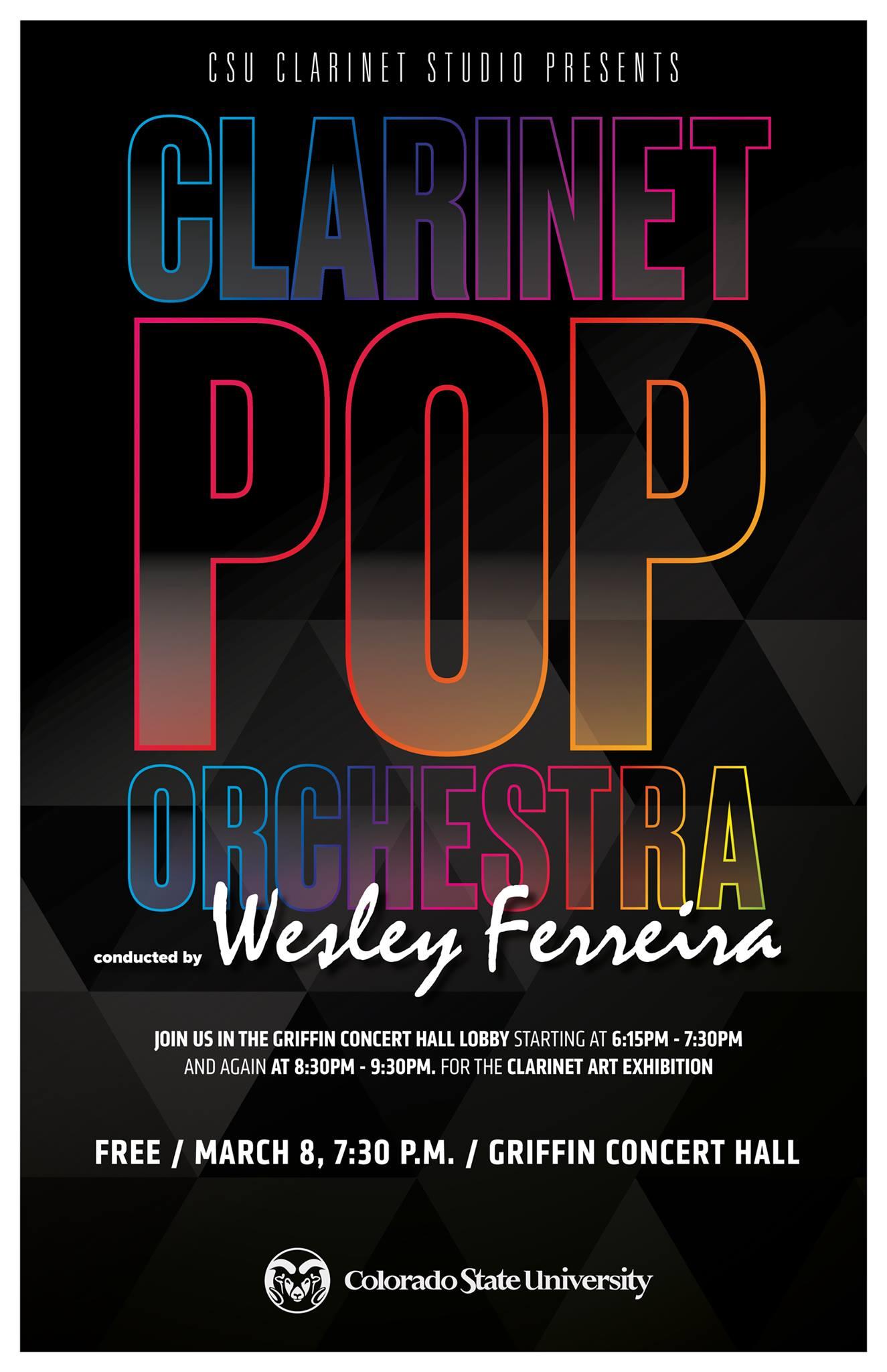 CSU Clarinet Studio 2018 Clarinet Pop promotional poster