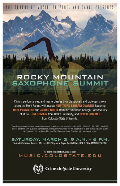 Poster for the 2018 Rocky Mountain Saxophone Summit