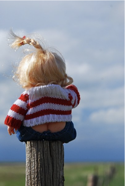 A young baby sitting on a fence post