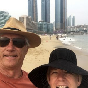 Wes Kenney and Leslie Stewart at the beach in South Korea