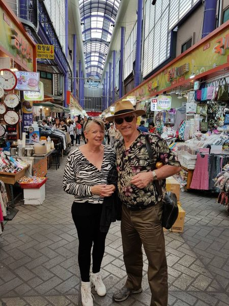 Wes Kenney and Leslie Stewart at a market in South Korea