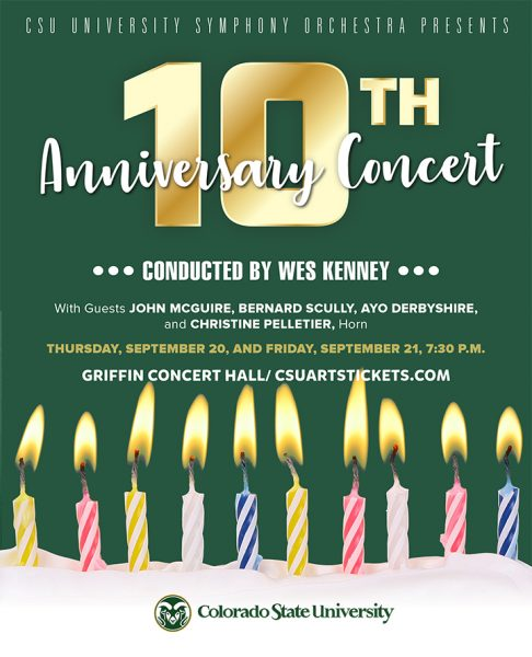 University Symphony Orchestra UCA 10th Anniversary concert promotional poster