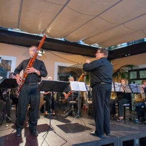 Faculty Chamber Winds playing a concert in Europe