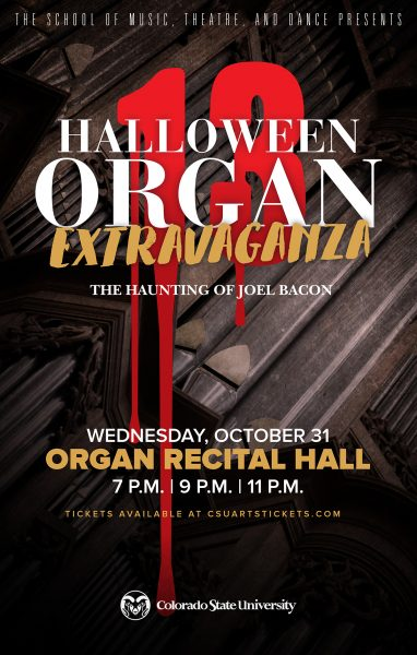 Halloween Organ Extravaganza | the haunting of Joel Bacon | Wednesday, October 31 Organ Recital Hall | 7pm, 9pm and 11pm promotional poster