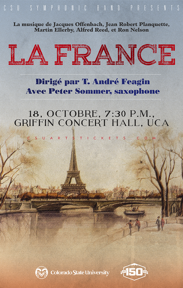 CSU Symphonic Band 2019 LA France promotional poster