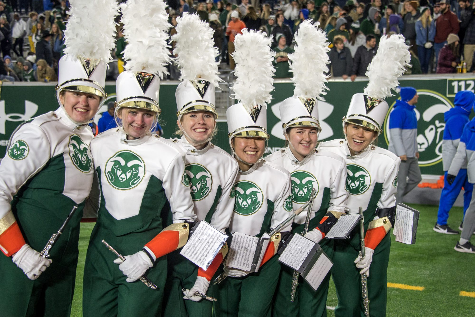 CSU Marching Band flute section pictured