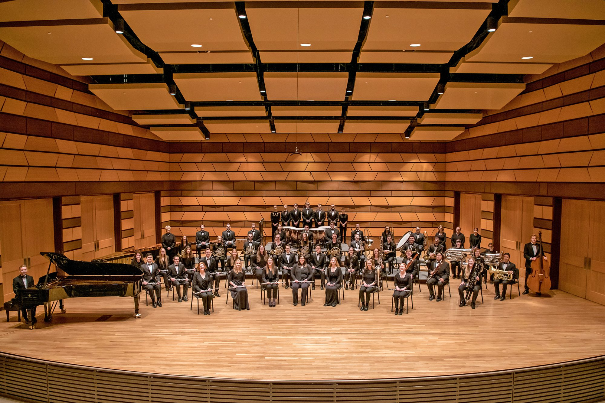 2020 Wind Symphony group photo on Griffin Concert Hall stage
